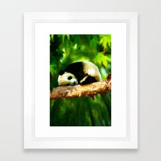 Baby Panda Resting - Painting Style Framed Art Print