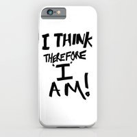 iPhone Cases featuring I think therefore I am - inverse redux by Bruce Stanfield