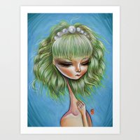Green petals - Pop Surrealism Illustration Art Print