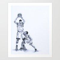 LeBron James / Rajon Rondo Art Print