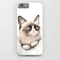 iPhone Cases featuring Grumpy Watercolor Cat by Olechka