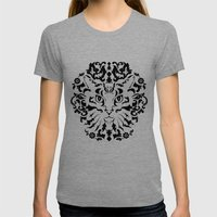 Cat Damask (Black&White) Womens Fitted Tee Tri-Grey SMALL