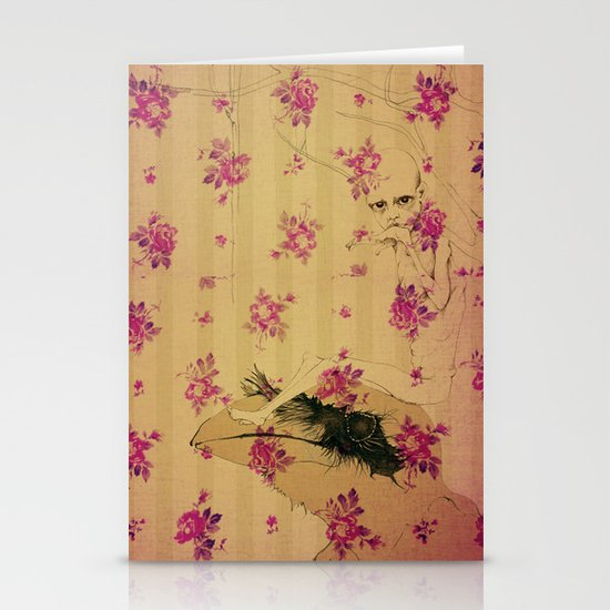 through forest boy mounted on your bird Stationery Card
