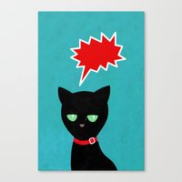 cat -Black cat Canvas Print