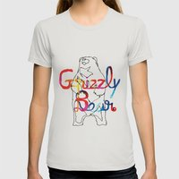 Grizzly Bear Womens Fitted Tee Silver SMALL