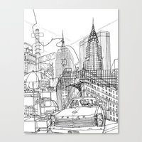New York B&W (Dark T-shirt Version) Canvas Print