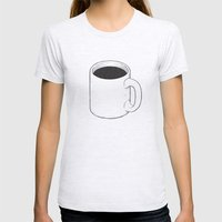 Space Coffee Womens Fitted Tee Ash Grey SMALL