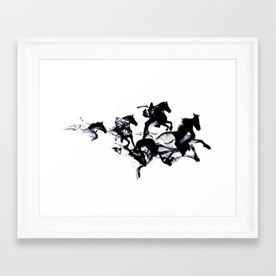 Black horses Framed Art Print
