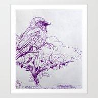 Art Print featuring Purple Ink Bird by Michael Hammond