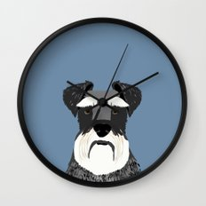 Schnauzer cute pet friendly valentines day dog gift for dog person navy black and white animal dogs Wall Clock