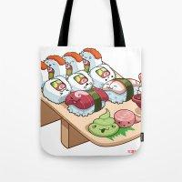 Kawaii California Roll and Sushi Shrimp and Tuna Nigiri Tote Bag