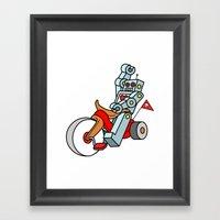 Hot Wheeling Robot Love Framed Art Print