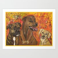 Dogs Bailey , Jake & Mag… Art Print