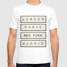 London | Paris | New York | Madrid White Mens Fitted Tee SMALL