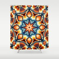 Colorful Concentric Motif Shower Curtain