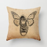 Flying Sneakers Throw Pillow