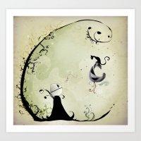Cat Romance Art Print