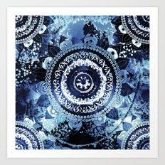 Navy Sea Mandala Art Print