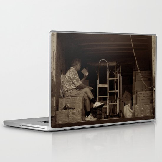 Man eating inside the van. Chinatown, New York City Laptop & iPad Skin
