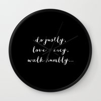 WALK HUMBLY - B & W Wall Clock