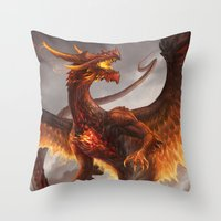 Red Crystal Dragon Throw Pillow
