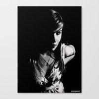 Girl In Grey Canvas Print