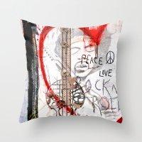 I love Rock'nRoll Throw Pillow
