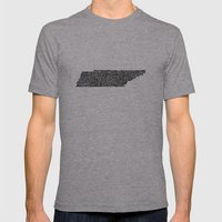 Typographic Tennessee Mens Fitted Tee Athletic Grey SMALL