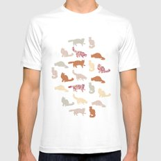 cats pattern SMALL Mens Fitted Tee White