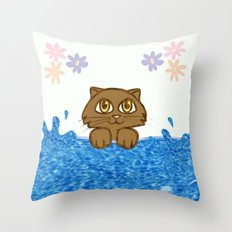 Cute Cat In Bath Tub Throw Pillow