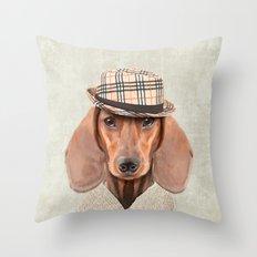 The stylish Mr Dachshund Throw Pillow