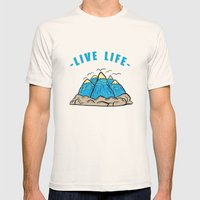 Live life Mens Fitted Tee Natural SMALL