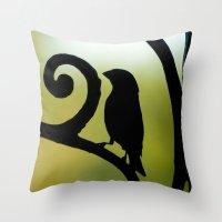 Bird on the Ironwork Throw Pillow