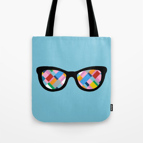 Map 45 Glasses on Sky Blue Tote Bag