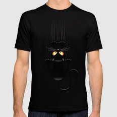 Black Cat Cartoon Scratching Wall SMALL Mens Fitted Tee Black