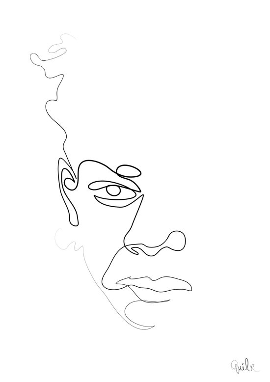 Single Line Art Print : Half a basquiat one line art print by quibe society