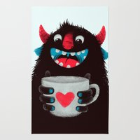 Demon with a cup of coffee (contrast) Rug