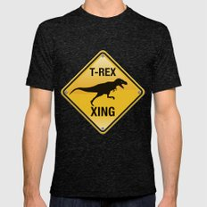 T-Rex Crossing Mens Fitted Tee Tri-Black SMALL