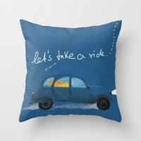 let's take a ride.. Throw Pillow