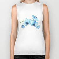 Blue Orchids - Watercolo… Biker Tank