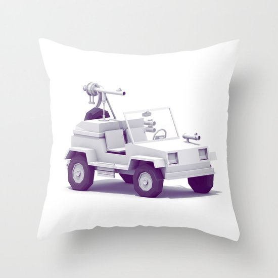 Battle Jeep Throw Pillow
