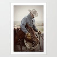 Cowboy Affection Art Print