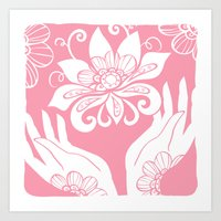 Pink Lotus And Hands Art Print