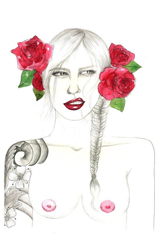 Roses & tattoo Art Print