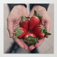 Strawberry Hands Canvas Print