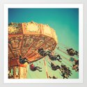 Vintage Chain Swing Ride on Blue Sky  Art Print