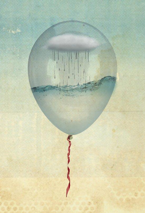 the balloon half full Art Print