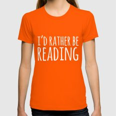 I'd Rather Be Reading - Inverted Womens Fitted Tee Orange SMALL