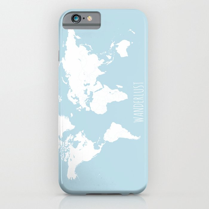 World Map - Wanderlust Quote - Modern Travel Map in Light Blue With ...