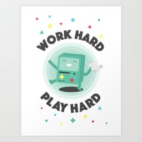 Work Hard, Play BMO Art Print